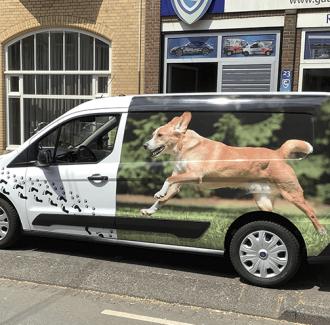Zijkant wrappen met afbeelding van honden